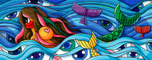 Mermaid And Fish In The Sea Life Paint Creative Design Illustration Background