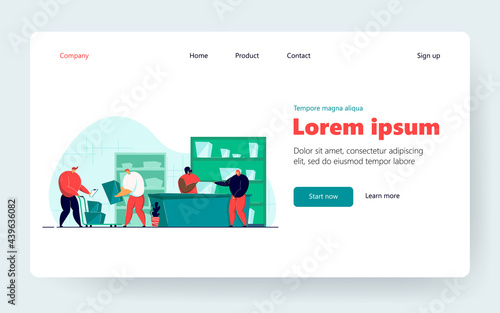 Obraz na plátne Post worker giving package to customer in post office flat vector illustration