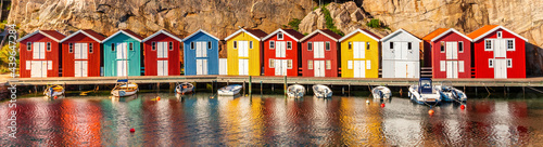 Fotografie, Obraz Fisccherhütten auf Smögen in Schweden