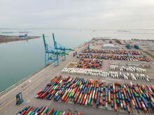 Shipping Containers In The Port, View From Above