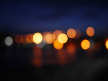 Defocused Blur Lights Of Night Scape
