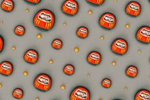 Red Japanese Daruma On Grey Background In Different Sizes