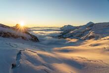 Sunrise Over Aletsch Glacier And Pennine Alps