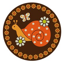 Snails Flowers And Butterflies Circle Graphic