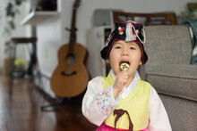 Child Dressed Up For Lunar New Year