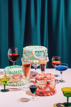 Old School Decorated Colorful Cakes And Drinks Stylish  Set Up/Celebration ,cocktail Party