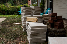 Pavers In A Backyard For An Outdoor Patio Construction