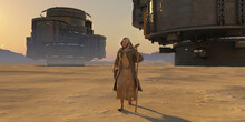 Futuristic Desert Landscape With Sand And Scfi Structures And Man Walking With Ragged Clothes And A Staff