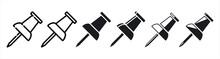 Push Pin Icon Sets. 3d. Vector Illustration Eps10
