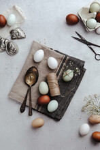 Easter Still Life With Pale Colored Eggs