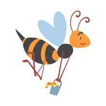 Bee Carrying Honey Bucket, Happy Funny Flying Insect Character Cartoon Vector Illustration