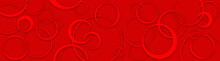 Panoramic Pattern With Red Circles For Design - Circles Pattern - Modern - Abstract Background - Luxury - Red - - Hd Widescreen - Glass Print - Illustration