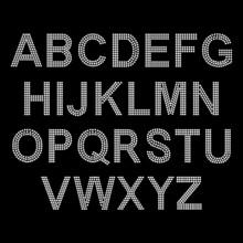 Rhinestone Alphabet Design For T-shirt Or Blouse, Hot-fix Transfer. Abstract Beautiful Applique Rhinestone Glitter Motif.