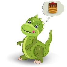 Little Dinosaur Thinks About A Delicious Cake. Children's Picture. Pie Fantasies. Vector. The Dragon Is Green. Illustration. White Background
