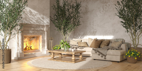 Fotografia, Obraz Scandinavian farmhouse style beige living room interior with natural wooden furniture and fireplace