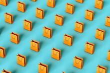 Orange Paper Bags On Blue Background