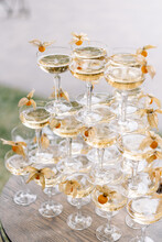 Pyramid Of Glasses With Champagne