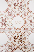 Wedding Rings On Ornament Background