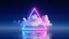 3d Render, Abstract Background With White Cloud Levitates Inside The Glowing Neon Triangle, With Reflection In The Water. Minimal Futuristic Seascape