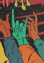 Alien Blue Hand-Horns Gesture