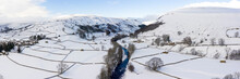 Swaledale River Covered In Snow In Winter Aerial North Yorkshire Dales