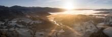 River Brathay And Lake Windermere Aerial Sunrise Lake District