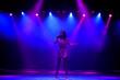 Leinwandbild Motiv Singer star performing solo set on scene in music hall in neon lights