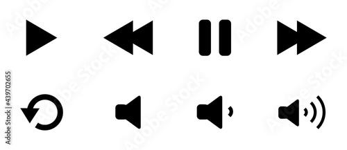 Obraz na plátně media player icon set