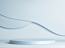 Abstract Geometry Podium For Product Presentation, Blue Background, 3d Render, 3d Illustration.