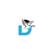 Letter D With Duck Icon Logo Design Illustration
