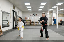 Master And Student In Kung Fu Class