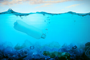 Fototapeta na wymiar Plastic Pollution In Ocean. Environmental Problem Concept. Ecological Disaster in the Seas and Oceans.