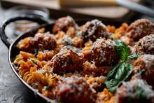Rotini With Tomato Sauce And  Meatballs