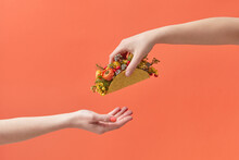 Woman Giving Taco With Flowers