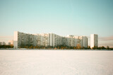 Soviet architecture building view from the frozen Moscow river