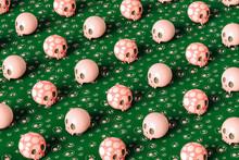 Pink Skulls On Green Background