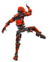 Mega Robotin Is Doing Some Kung Fu Fighting On White Background Rear View