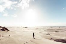 Female Silhouette Walking At The Desert