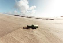 Old Beer Bottle At The Desert