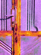 Old, Rusty Door Handle With Metal Purple Door Background