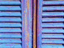 Old, Vintage Windows Shutter In Vibrant Blue Paint