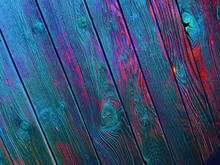 Old, Colorful, Blue Wooden Fence Diagonal Pattern / Background