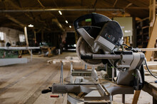 Miter Saw In A Woodshop