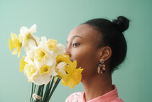Artistic Portrait Of Black Woman With Flowers