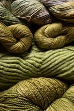 Closeup Of Yarn Textures In Green Shades