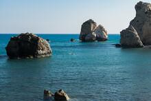 View Of Petra Tou Romiou Or Aphrodite's Rock In Kouklia, Cyprus