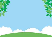 草原と青空の背景