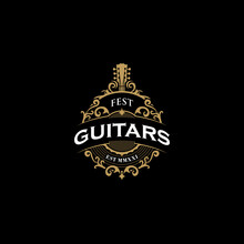 Vintage Guitars Logo With Abstract And Black Background With Gold Floral