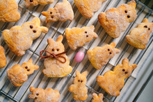 Group Of Easter Bunny Pastries With Easter Egg On Tray