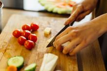 Close Up Woman Slicing Cheese